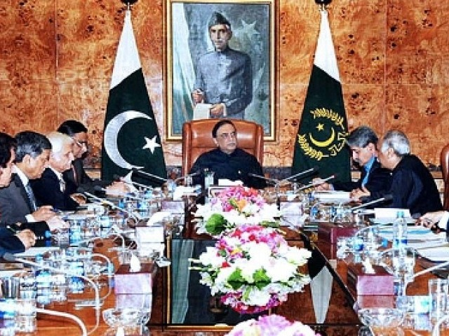 President Zardari conducting a special session in Aiwan Saddar on energy crisis prevalent in the country. PHOTO: APP