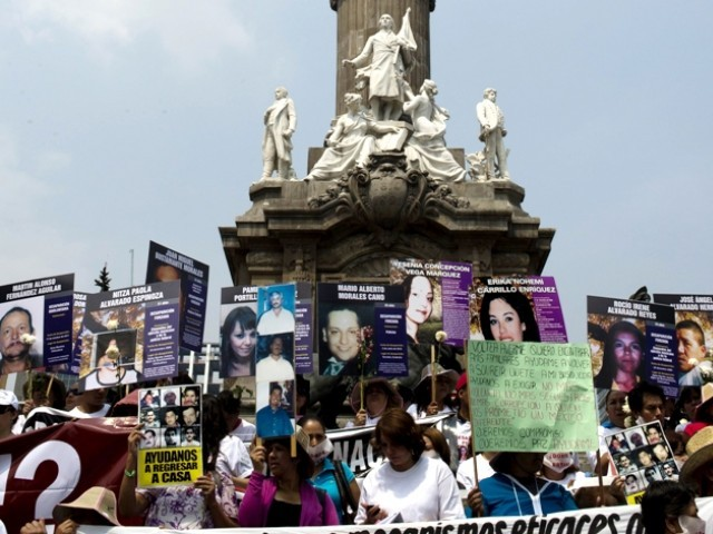 Families of missing people in Mexico City protest against 'indolence' of investigative authorities. PHOTO: AFP