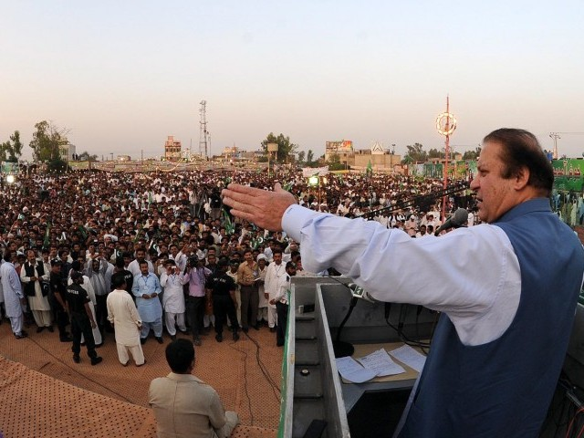 PML-N chief Nawaz Sharif addresses a rally in Khushab on Saturday. PHOTO: INP