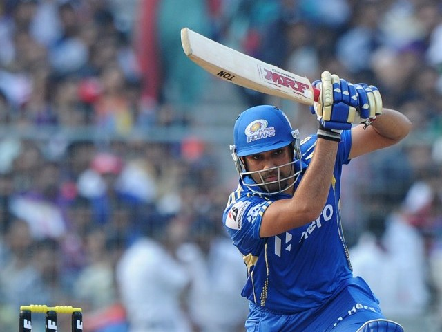 Mumbai Indians batsman Rohit Sharma plays a shot during the IPL Twenty20 cricket match . PHOTO: AFP