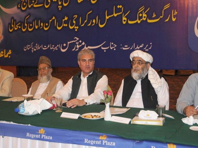 Syed Munawar Hassan (left in picture) placed the blame squarely on a coalition partner in the government. PHOTO: EXPRESS/IRFAN ALI