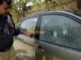 Six armed men take part in assault on Maulana Aslam Sheikhupuri's vehicle in Karachi. PHOTO: EXPRESS/RASHID AJMERI