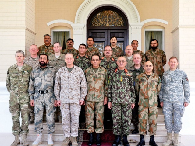 Army chief Gen Ashfaq Parvez Kayani with US Gen John Allen, Afghan army chief Gen Sher Muhammad Karimi and other delegates at Rawalpindi. PHOTO: AFP