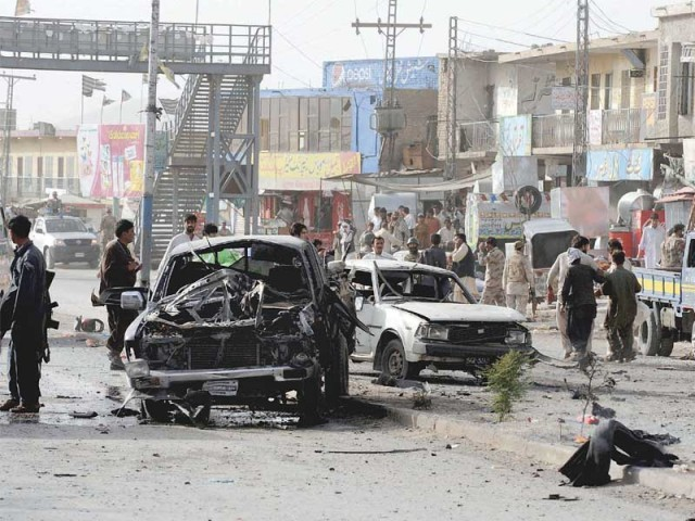 Two paramilitary soldiers were killed and several other people wounded when a car bomb targeted an FC convoy in Quetta. PHOTO: AFP