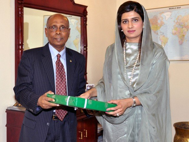 SAARC Secretary General Ahmed Saleem with Foreign Minister Hina Rabbani Khar. PHOTO: NNI