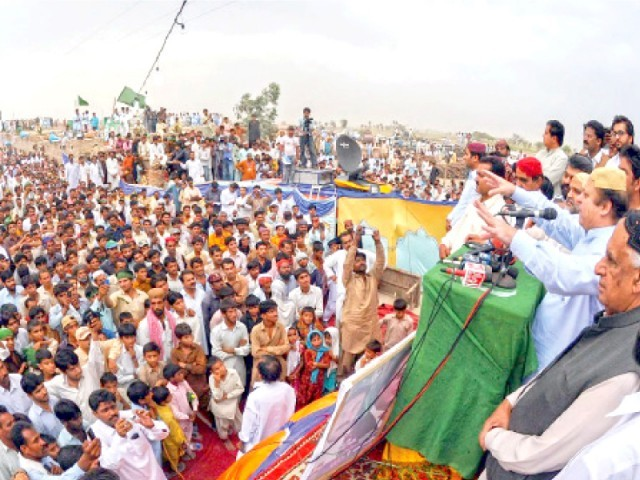 Addressing a rally in Garhi Yasin on Wednesday, Nawaz Sharif promised the people that his party would bring prosperity to Sindh through education, jobs and more. PHOTO: INP