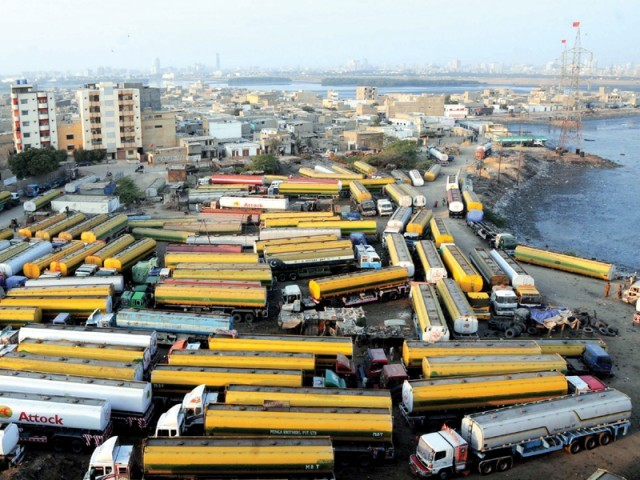 A view of Nato tankers parked in Karachi  as they wait for the Nato supply route to be reopened. PHOTO: MOHAMMAD NOMAN/EXPRESS/FILE