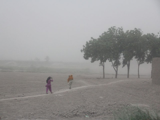 In this file photo from April 12, a dust storm in Nawabshah. PHOTO: EXPRESS