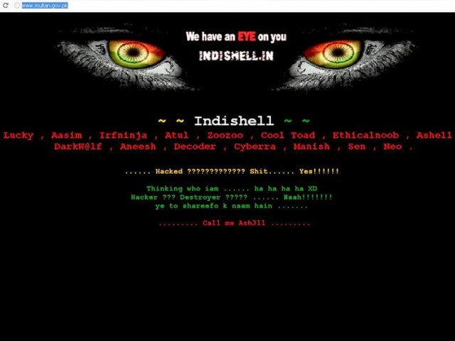 A group named 'Indishell' has claimed to hack the website, with its name prominently mentioned on the hacked site's homepage, along with a message saying 'We have an EYE on you' that is strategically placed under cat eyes with pupils donned as the Indian flag.