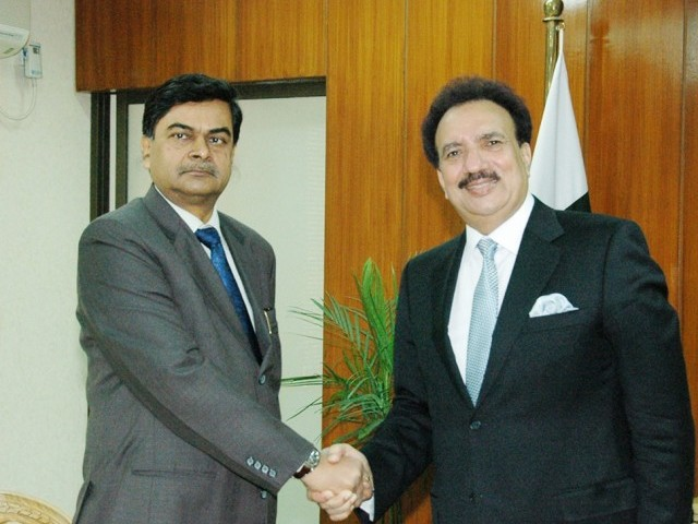 Interior minister meets Indian Home Secretary RK Singh to implement new visa regime. PHOTO: NNI