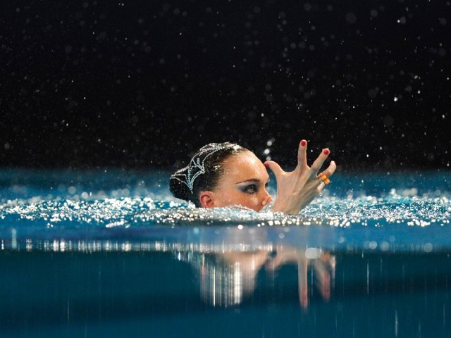 Russian's Natalia Ishenko competes in the final solo of the 31st LEN European Swimming Championships, on May 26, 2012 in Eindhoven. PHOTO: AFP