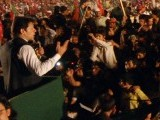 PTI chief Imran Khan addressing the rally in Rawalpindi's Liaquat Bagh. PHOTO: EXPRESS/MOHAMMAD JAVAID