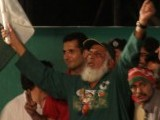 'Chacha Cricket' at PTI's Liaquat Bagh rally. PHOTO: EXPRESS/MOHAMMAD JAVAID