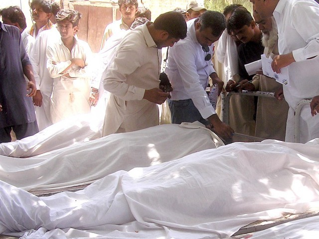 The Swabi-bound bus was carrying 38 passengers. The seven bodies were sent home for burials in Attock, Mianwali, Gujjar Khan and Taxila. PHOTO: PPI