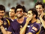 Kolkata Knight Riders owner and Bollywood actor Shah Rukh Khan (3rd R) celebrates with his teammates. PHOTO: AFP