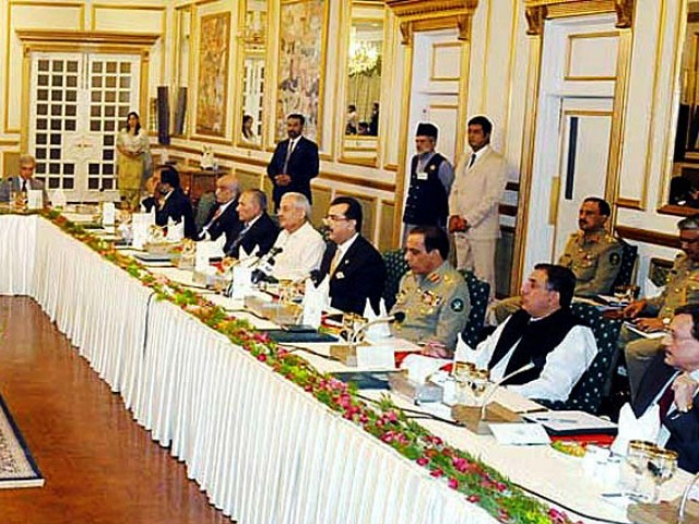 Prime Minister Yousaf Raza Gilani chairs a high level meeting on Balochistan at the Prime Minister house on Tuesday. PHOTO: APP