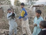 Young boys play with a hen outside their home in a slum in Islamabad. PHOTO: MYRA IQBAL/ THE EXPRESS TRIBUNE