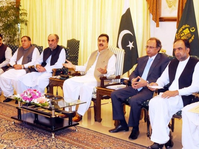 Prime Minister Yousaf Raza Gilani chairing a high-level meeting on Balochistan. PHOTO: SANA