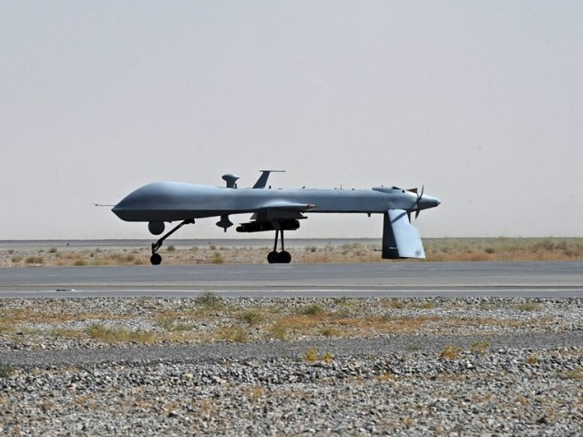 Two US drones fired four missiles at a house belonging to militant commander of Mullah Nazir group in Wacha Dana town. PHOTO: AFP/ FILE
