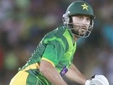 Afridi watches his shot. PHOTO : REUTERS