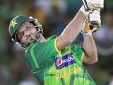 Afridi plays a shot during their final Twenty-20 cricket match against Sri Lanka. PHOTO : REUTERS