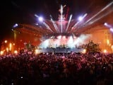 Fireworks light up the stage at the end of the Queen's Diamond Jubilee Concert at Buckingham Palace in London on June 4, 2012. PHOTO: AFP