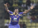 Sri Lanka's Thisara Perera appeals for a successful wicket of Pakistan's captain Misbah-ul-Haq. PHOTO : REUTERS