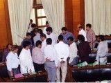 Ministers and MPAs of the MQM boycotting the Sindh Assembly during Thursday's budget session to protest against target killings and extortion. PHOTO: PPI