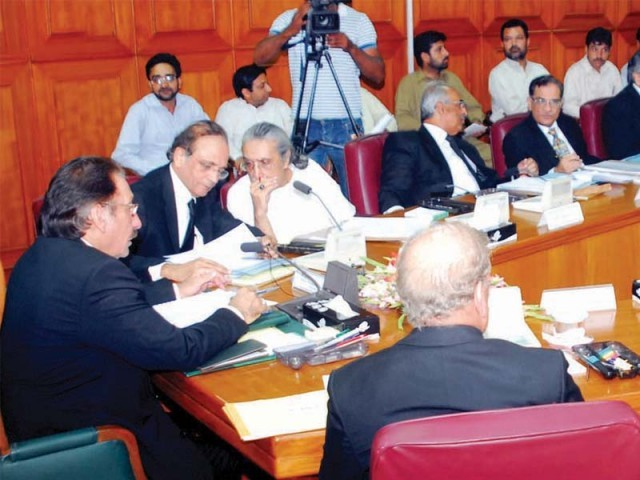 Chief Justice Iftikhar Muhammad Chaudhry chairing the full court meeting in the Supreme Court building on Friday. PHOTO: INP