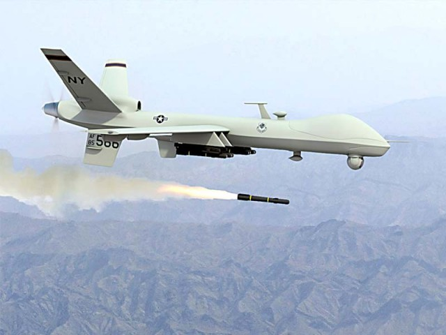 Unmanned aircraft fires two missiles on suspected militant compound in Shawal area.   PHOTO: FILE
