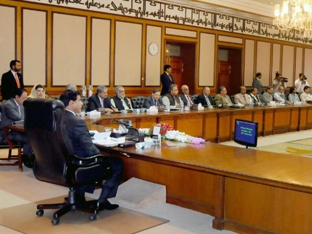Prime Minister Raja Pervaiz Ashraf chairing Federal Cabinet meeting at Prime Minister Secretariat. PHOTO: NNI
