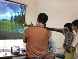 Students demonstrate the RPG-7 rocket-propelled grenade launcher simulator. PHOTO: MYRA IQBAL/EXPRESS