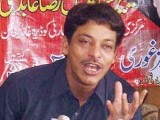 In this file photo, PPP's president of its Karachi division Faisal Raza Abidi is shown addressing a press conference in DG Khan on March 10.  He resigned on Tuesday citing his health as a factor, adding that doctors had advised bed rest for liver cirrhosis. PHOTO: APP