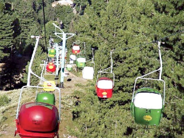 A view of the chairlift at Ayubia. PHOTO: FILE