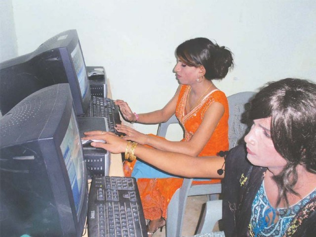 The computer training centre has been set up on a self-help basis. Sanam Fakir runs her eponymous welfare association and is the go-to person for transgender people in Sindh. PHOTO: EXPRESS