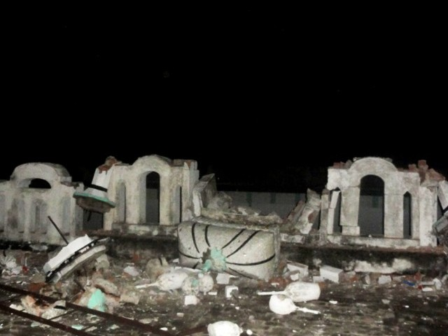 Spokesperson of Ahmadi community says 6 minarets demolished, 2 bigger ones to be taken down later. PHOTO: AHMADI COMMUNITY PRESS OFFICE