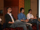 "Babrus Khan, Ramish Safa and Adil Hussain during ""The Rise of Online Comics"" at the Social Media Mela. PHOTO: ATHAR KHAN/ THE EXPRESS TRIBUNE"