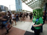 "A woman is seen dressed up as the character ""Creeper"" from the video game Minecraft during the Comic-Con international convention in San Diego, California July 13, 2012. PHOTO: REUTERS"