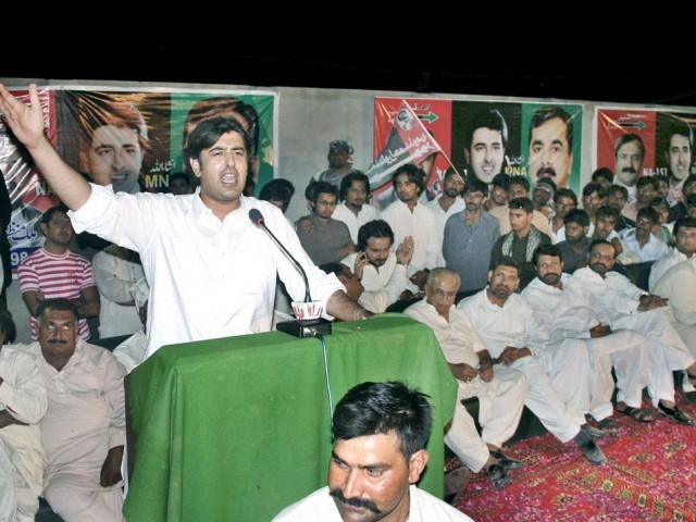 Abdul Qadir Gilani addressing a gathering in Multan on Wednesday. PHOTO: APP
