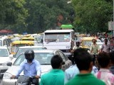 Indian commuters are backed up in traffic at an intersection during a power outage in New Delhi on July 31, 2012. A massive power failure hit India for the second day running as three regional power grids collapsed, blacking out more than half the country in a crisis affecting over 600 million people. PHOTO: AFP