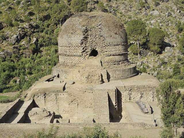 Sheltered by the great Mount Elum, the Amluk-Dara stupa is an ancient relic. PHOTO: COURTESY ARCHAEOLOGY COMMUNITY TOURISM PROJECT
