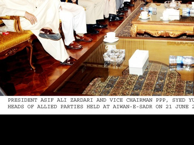 President Zardari along with prime minister Raja Pervez Ashraf attend a meeting of coalition partners. PHOTO: PID/FILE
