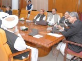 Defence Minister Syed Naveed Qamar chairs a meeting of the special committee of the cabinet in Quetta. PHOTO: APP
