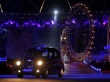 A London taxi during the closing ceremony of the London 2012 Olympic Games. PHOTO: REUTERS/FILE.