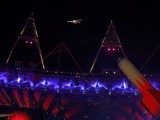 A performer is shot out of a giant cannon at the closing ceremony of the London 2012 Olympic Games. PHOTO: REUTERS/FILE.