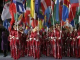 Flag bearers carry flags of countries represented into the closing ceremony of the London 2012 Olympic Games at the Olympic Stadium August 12, 2012. PHOTO: REUTERS/FILE.