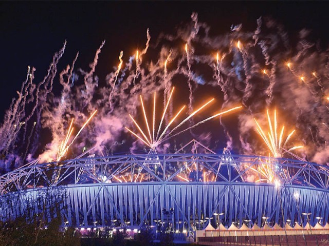 The Olympic Stadium in London beamed with lights and sounds as the city celebrated the end of the mega event. PHOTO: AFP
