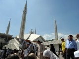 Pakistani Muslims leave the grand Faisal Mosque after offering Jumat-ul-Vida, last Friday, prayers during the holy month of Ramazan in Islamabad on August 17, 2012. PHOTO: AFP