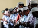 Sri Lankan Muslims take part in communal Friday noon prayers on the last Friday of the Muslim holy month of Ramazan in Colombo on August 17, 2012, ahead of the Eid ul-Fitr festival. PHOTO: AFP