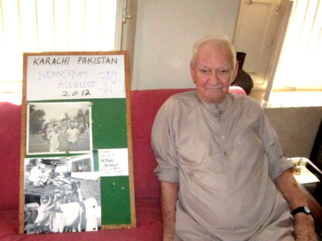 This photo shows Brother Norman Wray at his place of residence in Garden East on Saturday. Since he has Alzheimer's, he has been keeping images pinned on boards to help him recall past events.PHOTO: EXPRESS